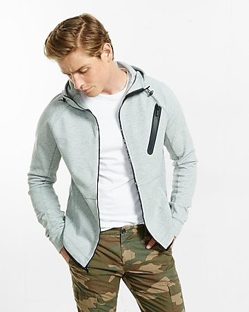heathered zip-up tech hoodie