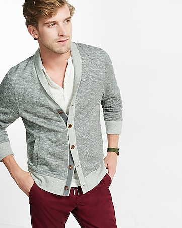 marled fleece shawl neck cardigan