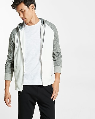 Express Mens Fleece Waffle Detailed Raglan Hooodie White Small