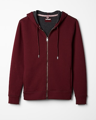 Express Mens Full Zip Ottoman Hoodie Red Large 10990889