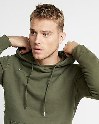 Distressed Pullover Hooded Sweatshirt
