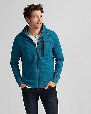 Express Mens Ponte Fleece Athletic Hoodie Blue X Small