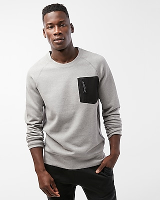 Express Mens Crew Neck Contrast Pocket Sweatshirt