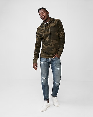 Express Mens Fleece Camo Print Raglan Hooded Sweatshirt