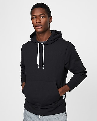 Express Mens Solid Fleece Popover Hoodie Black Men's M Black M 13891329