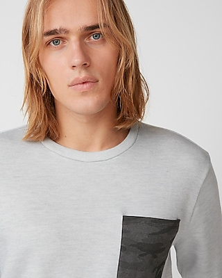Express Mens Camo Pocket Supersoft Fleece Crew Neck Sweatshirt