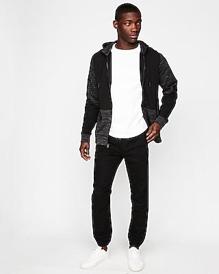 Express Mens Ponte Fleece Zip-Up Hoodie Black Men's Xl Black XL 14721137