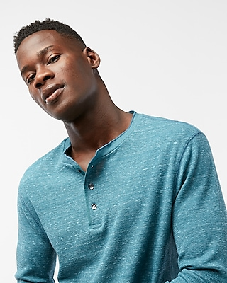 Express Mens Waffle Texture Henley Blue X Small