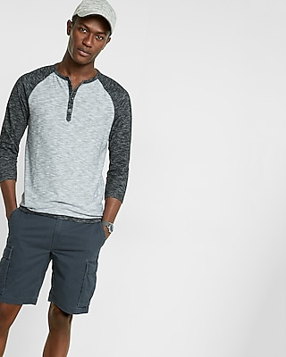 Express Mens Color Block Three Quarter Sleeve Henley