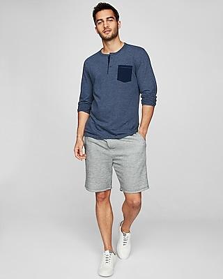 Express Mens Long Sleeve Pocket Henley Blue Men's Xs Blue XS