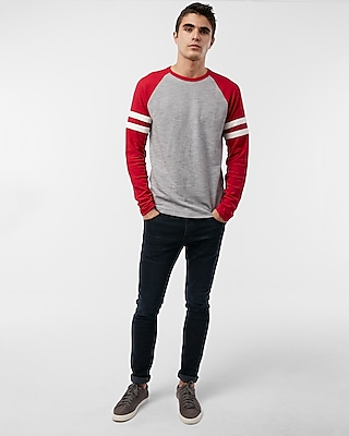Express Mens Stripe Long Sleeve Waffle Baseball Tee