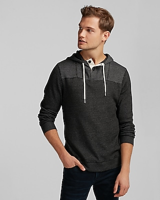 Express Mens Hooded Waffle Henley