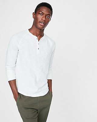 Express Mens Garment Dyed Cotton No Pocket Henley