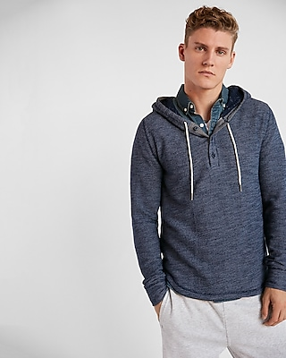 Express Mens Terry Henley Hoodie
