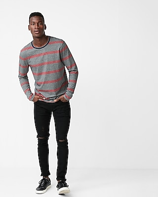 Express Mens Mini Stripe Crew Neck Tee