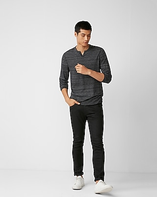 Express Mens Striped Notch Neck Henley