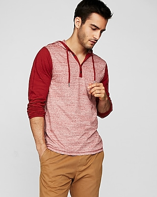 Express Mens Burnout Jersey Hooded Henley Red Large 14530340