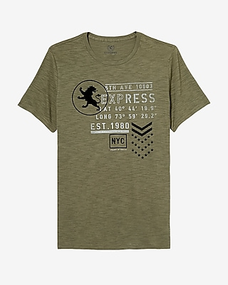 Express Mens 5Th Avenue Express Textured Graphic Tee