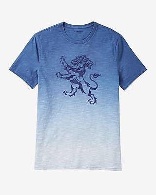 Express Mens Ombre Embroidered Lion Graphic T-Shirt