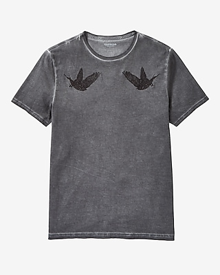 Express Mens Embroidered Birds Graphic T-Shirt
