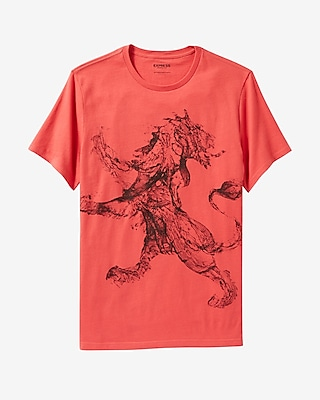Express Mens Water Lion Graphic T-Shirt