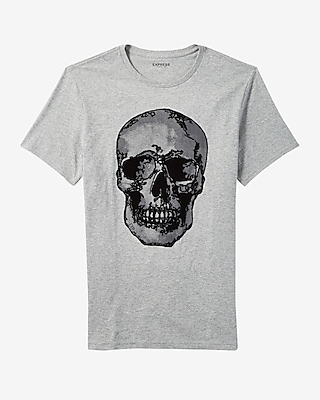 Express Mens Skull Textured Graphic Tee