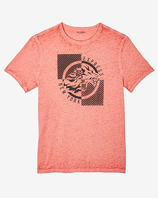 Express Mens Lion Burnout Crew Neck Graphic Tee