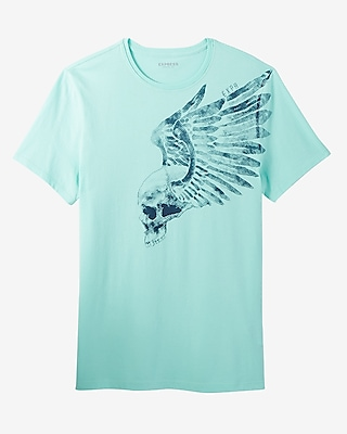 Winged Skull Crew Neck Graphic Tee