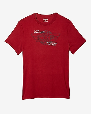 Express Mens Exp Wings Crew Neck Graphic Tee Red Large 13068165