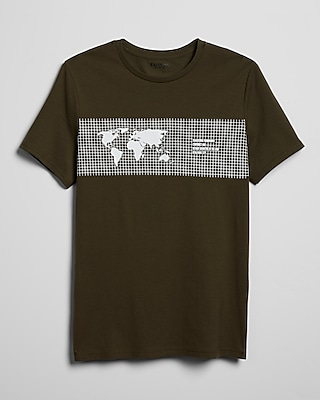 Express Mens Linear Geography Grid Graphic Tee