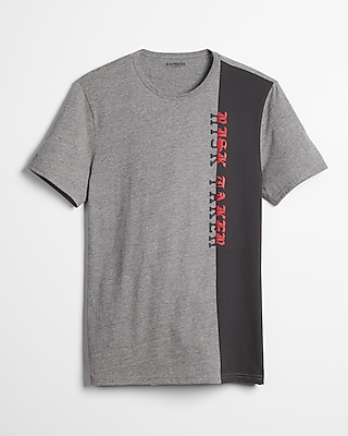 Express Mens Spliced Risk Taker Crew Neck Graphic Tee