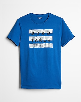 Express Mens Blue Risk Taker Graphic Tee