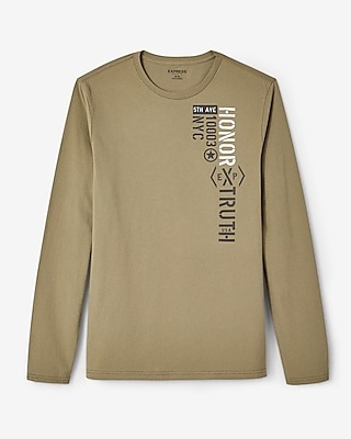 Express Mens Honor Truth Long Sleeve Crew Neck Tee