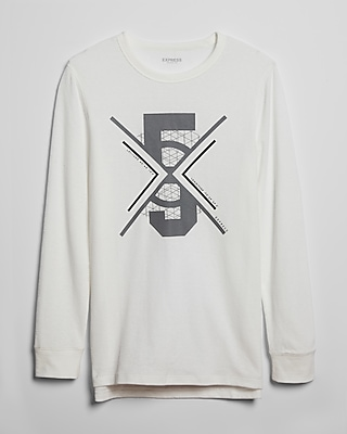 Express Mens Waffle Five Lines Long Sleeve Graphic Tee