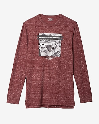 Express Mens Diamond Graphic Hi-Lo Waffle Tee