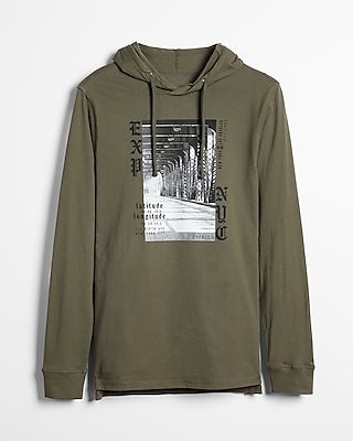 Express Mens Express Nyc Logo Graphic Hoodie