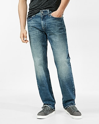 Express Mens Loose Straight Medium Wash Stretch Jeans