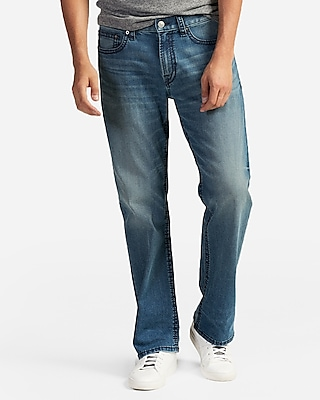 Men's Loose Boot Light Wash Thick Stitch Jeans