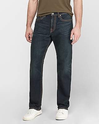 Express Relaxed Dark Wash Thick Stitch Stretch+ Jeans