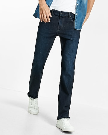 straight leg classic fit flex stretch dark wash jean