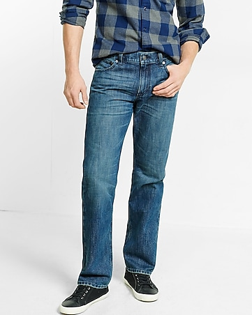 straight leg classic fit medium wash jeans
