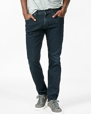 Classic Fit Tapered Leg Stretch Dark Wash Jeans