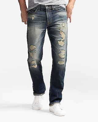 Express Mens Express Mens Classic Straight Medium Wash Destroyed 100% Cotton Jeans