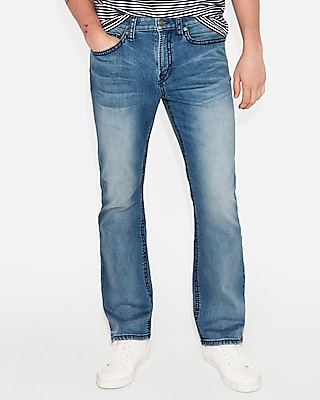 Express Classic Boot Medium Wash Thick Stitch Stretch Jeans