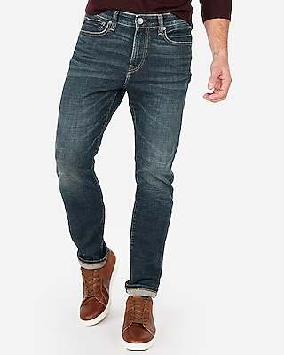 Express Mens Classic Slim Stretch+ Performance Dark Wash Jeans, Men's Size:w42 L32 Blue W42 L32