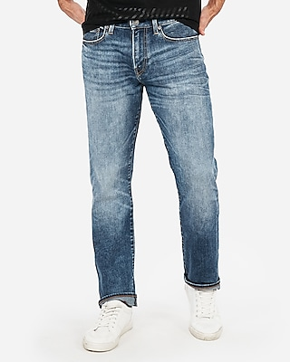 Express Mens Classic Straight Light Wash 365 Comfort Hyper Stretch Jeans, Men's Size:w42 L30 Blue W42 L30