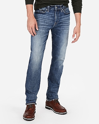 Express Mens Classic Straight Hyper Stretch Medium Wash Jeans, Men's Size:w28 L32 Blue W28 L32