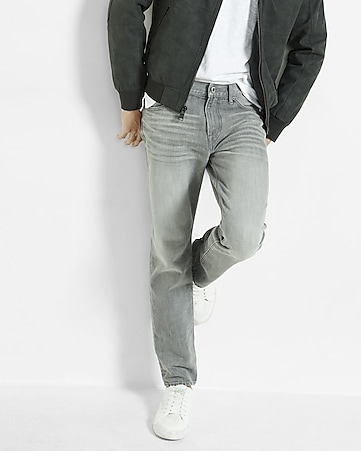 tapered leg classic fit gray jean