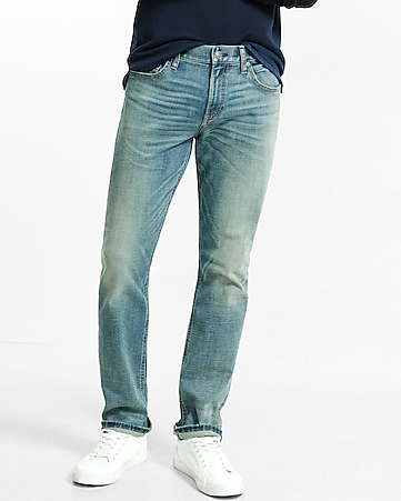 tapered leg classic fit performance stretch jeans