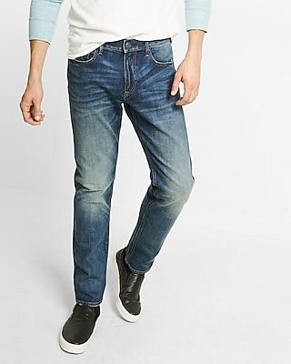 Express Mens Slim Leg Slim Fit Dark Wash Jean